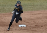 Missouri's Mackenzie Sykes rounds the bases after a solo home run to tie the game at 1-1 in the bottom of the second inning.