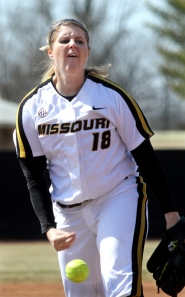 Missouri's starting pitcher, Chelsea Thomas, during the first inning against Evansville on Wednesday, March 13, 2013. Thomas earned her 1,000th strike out in the game and earned the win.
