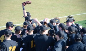 The Tigers prepare to take the field for game 2 of their doubleheader against EMU.