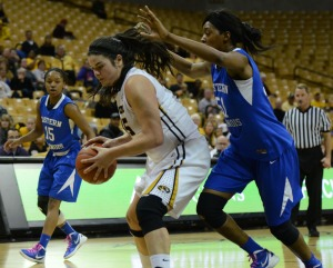 Liz Smith grabs a defensive rebound against Eastern Illinois in Missouri's first round loss in the WNIT on March 20, 2013 at Mizzou Arena.