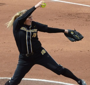 Missouri pitcher Chelsea Thomas delivers a pitch.  She threw a complete game and allowed one earned run, but ended up losing for the fourth time this season on April 13, 2013.
