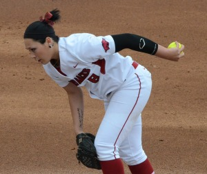 Arkansas pitcher Kimmy Beasley prepares to throw a pitch.  Beasley struck out 12 batters and allowed one earned run.
