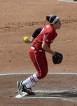 Arkansas pitcher Kimmy Beasley (8) couldn't match her performance from Saturday.  She gave up six runs in three innings.