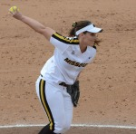Nicole Hudson delivers a pitch in the fifth inning.  She pitched 3 2/3 innings, giving up 8 runs.