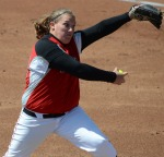 Western Kentucky's Emily Rousseau pitched seven shutout innings en route to a 1-0 win in game one.