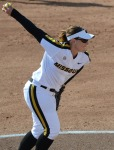 Missouri's Nicole Hudson started both games of the doubleheader.  She threw eight innings, struck out two and allowed no earned runs.