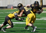 A lot of players got playing time on Saturday, including freshman wide receiver Jake Brents (26).