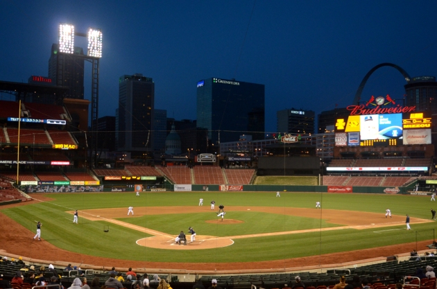 Missouri starting pitcher Jace James pitches to Illinois designated hitter Michael Hurwitz in the fifth inning of Tuesday's game at Busch Stadium in St. Louis. James pitched five innings and gave up four runs on seven hits in the game, which Illinois won 6-2.