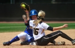 Corrin Genovese (16) tags Hofstra's Chloe Fitzgerald for the out at second.
