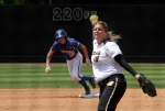 Chelsea Thomas pitches with Hofstra's lead-off hitter Chloe Fitzgerald watching from second base. Thomas was able to hold on for the shut-out victory.