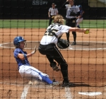 Catcher Jenna Marston puts out Hofstra's Chloe Fitzgerald at home.