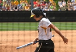 Kelsea Roth reacts to striking out early in the second inning. She went hitless in the game.