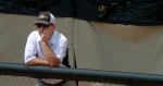Missouri coach Ehren Earleywine watches as the Tigers lose to Hofstra 10-0 in the first game Sunday.
