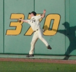 Missouri right fielder Dane Opel makes a leaping catch on the warning track during the third inning of Tuesday's loss to Southeast Missouri State.