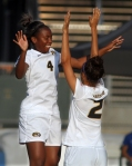 Erin Webb (4) and Dominique Richardson during introductions.
