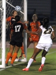 Candace Johnson (23) watches as a Pacific player tries to head the ball away from the goal, but the ball crossed the goal line and the goal was award to Missouri's Taylor Grant, her second of the game.