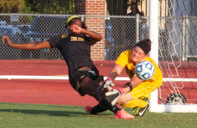 SEMO goalie Ashton Aubuchon makes a save on a shot by Missouri's Candace Johnson in the first half.