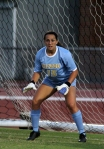 Goalie Kristen Rivers, a freshman, watches the action in the second half.