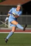 Missouri starting goalie McKenzie Sauerwein follows through on a kick.