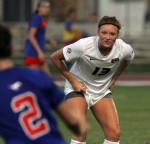 Sarah Thune watches SMU's Rikki Clarke. Thune has battled injuries during her career at Missouri.