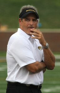 Coach Gary Pinkel.  during pregame warm ups on Saturday, Aug. 31, 2013 on Faurot Field.