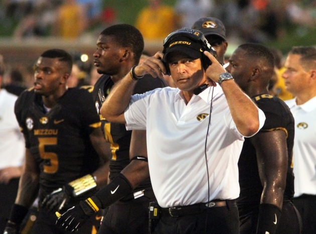 Missouri coach Gary Pinkel, with headset, on the sidelines during Saturday's game.