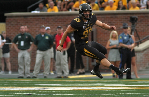 Andrew Baggett watches as his kick off flies toward the end zone in the game against Murray State on August 31, 2013.