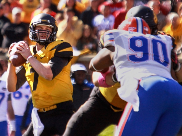 Missouri quarterback Maty Mauk looks to pass in his first start, Saturday, Oct. 19, 2013 at Faurot Field. Mauk went 18 of 36 for 295 yards and a touchdown pass, replacing the injured James Franklin.