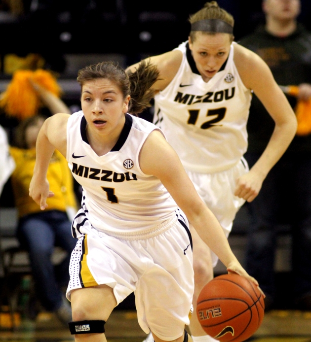 Lianna Doty (1) dribbles down the court as Michelle Hudyn (12) follows in the February 2013 game against LSU. Both players are back for Missouri this year.