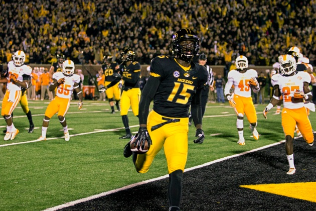 Missouri wide receiver Dorial Green-Beckham jogs into the end zone for the first touchdown of the game against Tennessee.