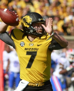Maty Mauk throws during the game against Florida on Oct. 19, 2013.