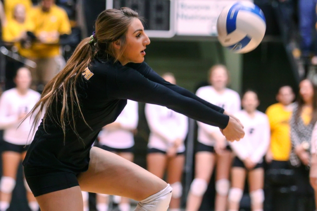 Missouri defensive specialist Sarah Meister makes a dig on Wednesday night against Arkansas at the Hearnes Center.