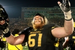 Max Copeland celebrates at midfield after Missouri's win.