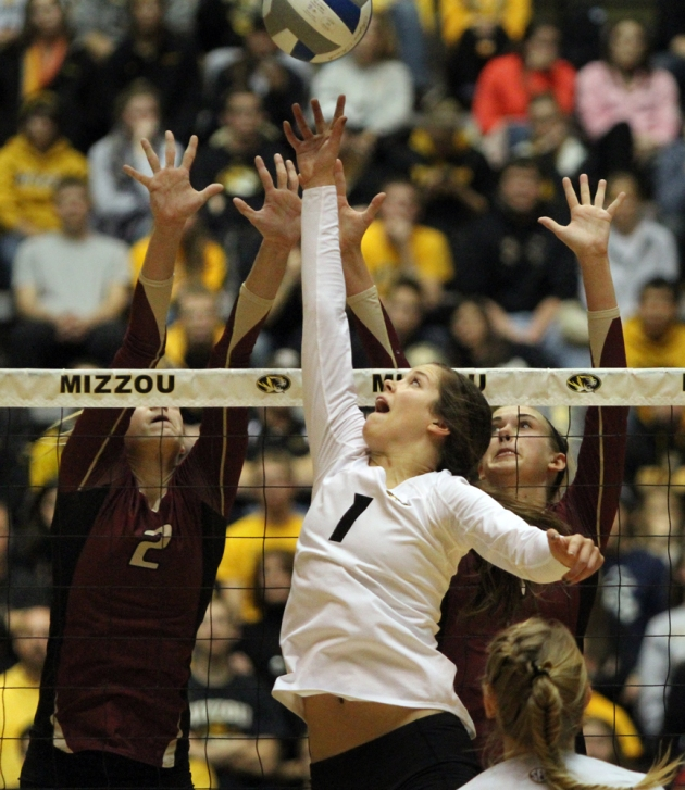 Missouri's Molly Kreklow (1) makes a play at the night against IUPUI defenders. Kreklow finished with 41 assists in Friday's game.
