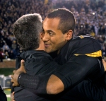 Senior captian James Franklin, right, hugs Missouri's Athletic Director Mike Alden during ceremonies before the game.