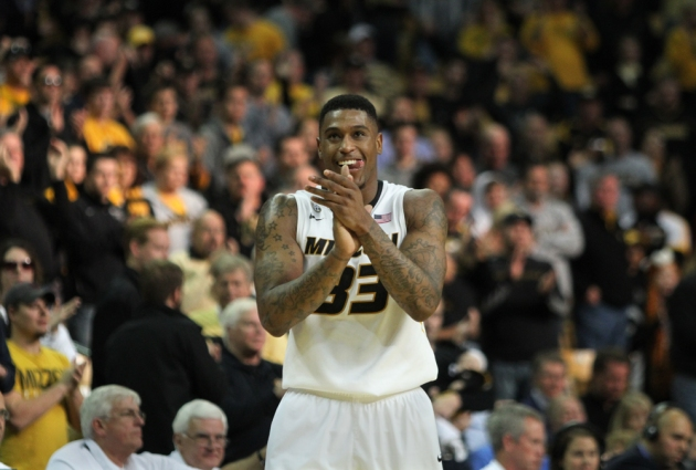 Earnest Ross starts to celebrate as the clock winds down in the second half. Ross had 20 points in the win over UCLA.