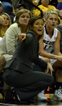 Missouri coach Robin Pingeton tells her offense which play to run in the second half of the game against Vanderbilt.