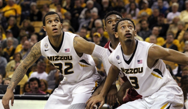 Jabari Brown (32) and Johnathan Williams (3) are two of the stronger players for Missouri, shown here positioning for a rebound against Alabama on Jan. 18, 2014 at Mizzou Arena in Columbia, Mo. Photo by Karen Mitchell