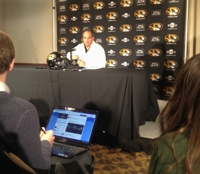 Missouri football coach Gary Pinkel talks with reporters about the 28 recruits Missouri signed during National Signing Day on Wednesday, Feb. 5, 2014 at Mizzou Arena. Photo by Ryan Shiner.