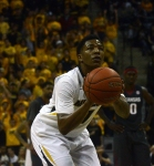 Missouri guard Wes Clark (1) attempts a free throw in the first half against Arkansas on Thursday, February 13, at Mizzou Arena. The Tigers made their first 23 free throw attempts, which tied a school record.