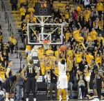 Missouri guard Wes Clark (1) attempts to seal the win for the Tigers by shooting a free throw with 1.9 seconds left in the game. Clark made the first of two, and the Tigers held on to beat Vanderbilt 67-64.