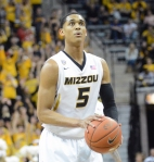 Missouri guard Jordan Clarkson (5) prepares to shoot a free throw in the first half against Vanderbilt on Wednesday, February 19, at Mizzou Arena. Clarkson was perfect from the free-throw line, making all 11 attempts and has shot 83 percent from the line this season.