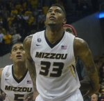 Missouri guards Earnest Ross (33) and Jordan Clarkson (5) prepare for a rebound in the second half against Arkansas. Ross finished with 15 points and 11 rebounds.