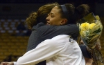 Missouri senior forward Bri Kulas (13) hugs coach Robin Pingeton during the senior night celebration. Kulas topped 1,000 career points in the victory.