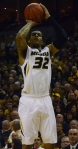 Missouri guard Jabari Brown (32) attempts a jump shot in the first half against Arkansas. Brown finished with 25 points and has scored in double digits in all 24 games.