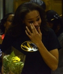 Missouri senior Tania Jackson cries before she is celebrated on senior night at Mizzou Arena on Feb. 27, 2014. Jackson did not play in Missouri's 75-72 victory over Ole Miss.