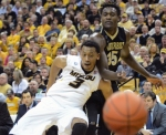 Missouri freshman forward Johnathan Williams (3) attempts to box out Vanderbilt forward James Siakam (35) after a free throw. Williams scored five points and had three of the Tiger's four blocks.