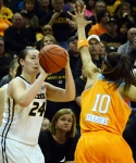 Missouri guard Sierra Michaelis (24) prepares to shoot a 3-pointer over Tennessee defender Meighan Simmons (10). Michaelis has moved up to a starting position for the Tigers and had seven rebounds and four points.