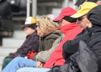 Fans bundled up for the doubleheader on Wednesday, March 19. 2014 at Taylor Stadium, as the game time temperature for game one was 42F.