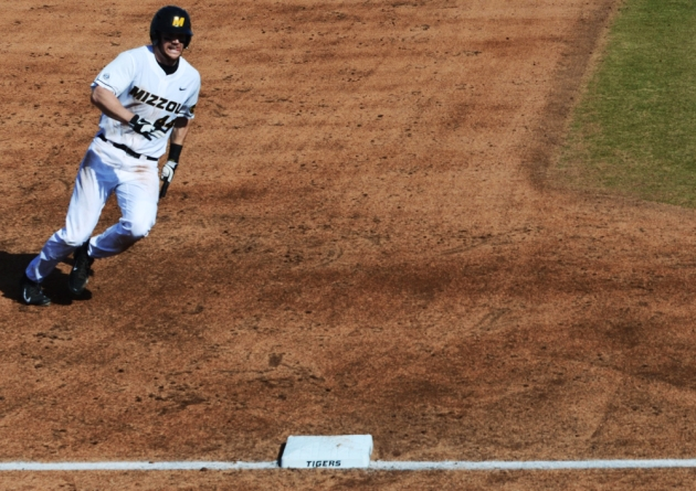 Missouri's Eric Anderson scores on a Kendall Keeton single in the third inning of Missouri's 11-5 win over Alcorn State in the first game of the doubleheader. Anderson hit his first career home run for the Tigers in the fourth inning. (Philip Joens/KBIA Sports)